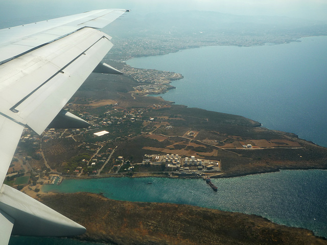 coming in to land at Chania Airport