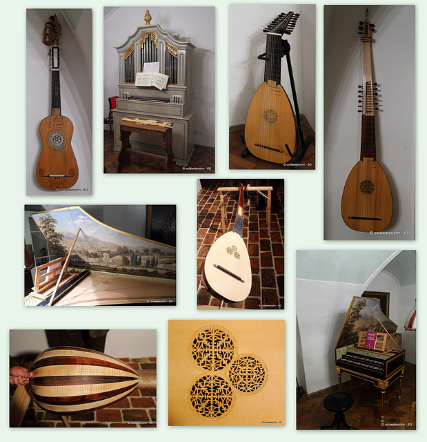 Collage of the musical instruments built by my dinner host in Eisenstadt