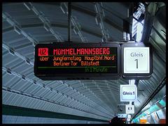 Haltestellenanzeiger U2 - Messehallen in Richtung Mümmelmannsberg