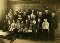 Schoolchildren Posing in Front of a Blackboard, Perry County, Pa.