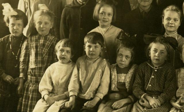 Schoolchildren Posing in Front of a Blackboard, Perry County, Pa. (Detail)