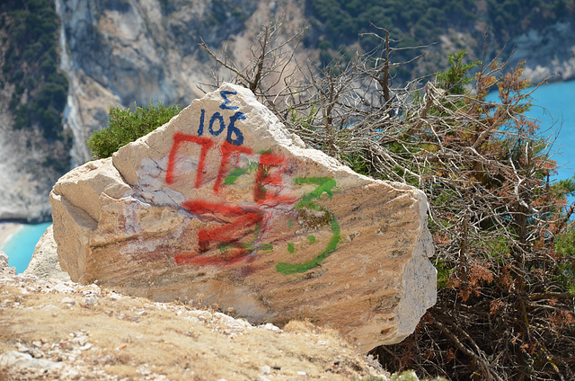 marked-up rock