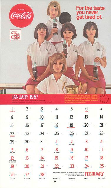 Coke Calendar JanFeb 1967