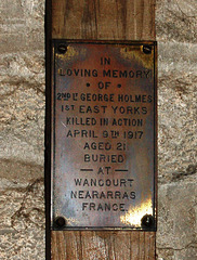 Memorial to George Holmes of the 1st East Yorkshire Regiment, Hathersage Church, Derbyshire