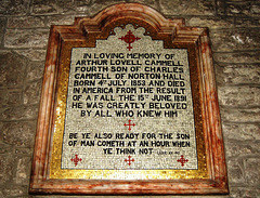 Memorial to Arthur Lovell Cammell (1853-1891) of Norton Hall, Hathersage Church, Derbyshire