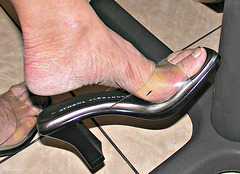wife wearing clear sandals