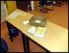Relativ geleerte Stimmzettelausgabestelle nach der Wahl
