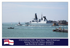 HMS Defender D36 leaving Portsmouth Harbour - 31.5.2013