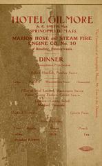 Marion Hose and Steam Fire Engine Company No. 10, Reading, Pa., Menu, 1909