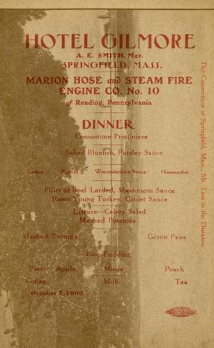 Marion Hose and Steam Fire Engine Co. No. 10, Menu, Reading, Pa., 1909