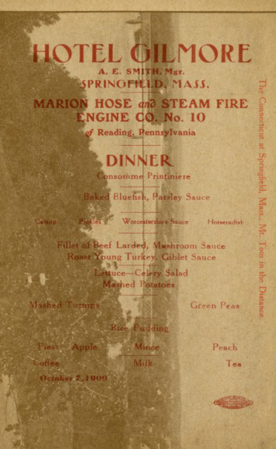 Marion Hose and Steam Fire Engine Co. No. 10, Reading, Pa., Menu, 1909