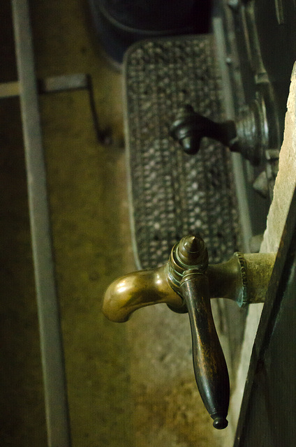 Hot water tap on Victorian fireplace