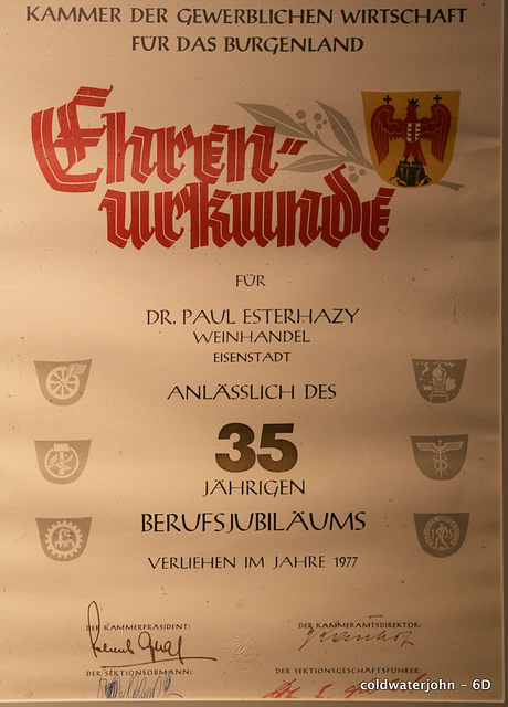 One of the wine notes pinned in the cellars of Schloss Esterhazy