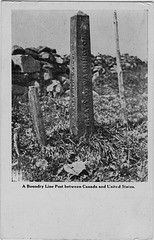 A Boundry Line Post between Canada and United States