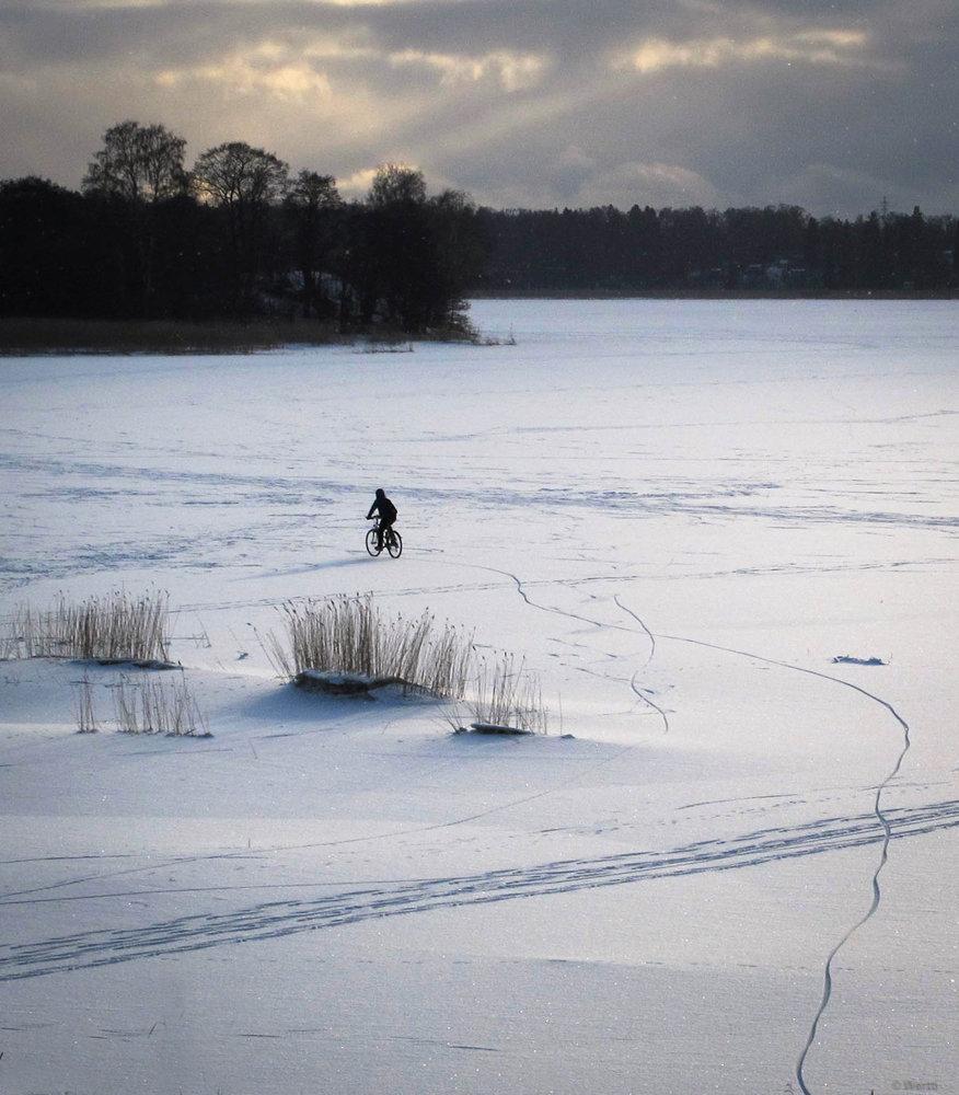 biking on the ice