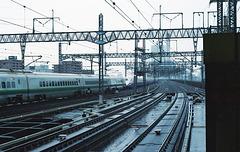 Railroad tracks in the rain