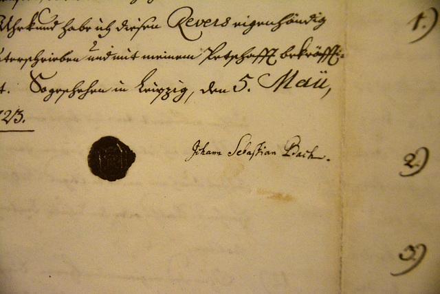 Leipzig 2013 – Stadtgeschichtliches Museum – Signature of Johann Sebastian Bach