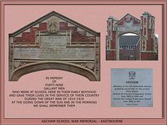 Ascham School War Memorial - Eastbourne - photographed in  2011