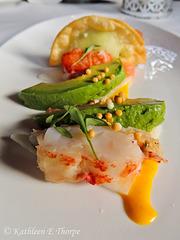 Sous Vide Lobster Aji Amarillo Yuzu Vinaigrette Rise Crackers Spicy Edamame Mascarpone Dumpling Jicama Avocado Grapefruit Salad - 2