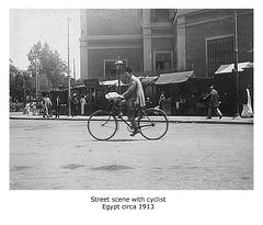 Street scene with cyclist Egypt c1913