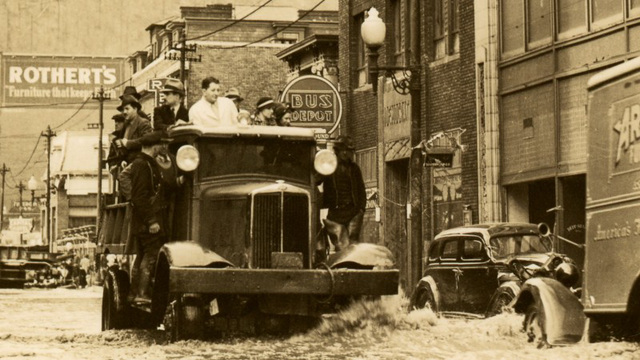 Trucks Aiding Marooned People at Main Street, Johnstown, Pa., March 18, 1936 (Cropped)