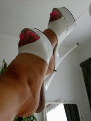 Carla !!  White Platform Mules.