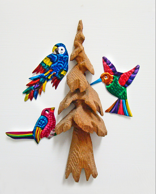 Tin Birds and Redwood Tree