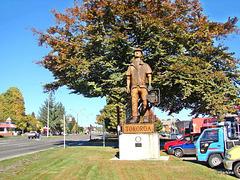 Woodsman statue.
