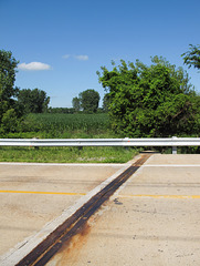 Rusty expansion joint in a corn area of northwestern Ohio.