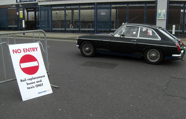 No Entry - except buses and taxis and MGB GT