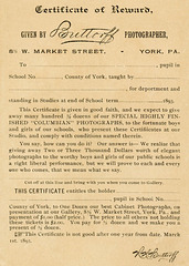 Certificate of Reward, Given by Buttorff, Photographer, York, Pa., 1893