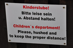 Children's department – Please, hushed and to keep the proper distance!