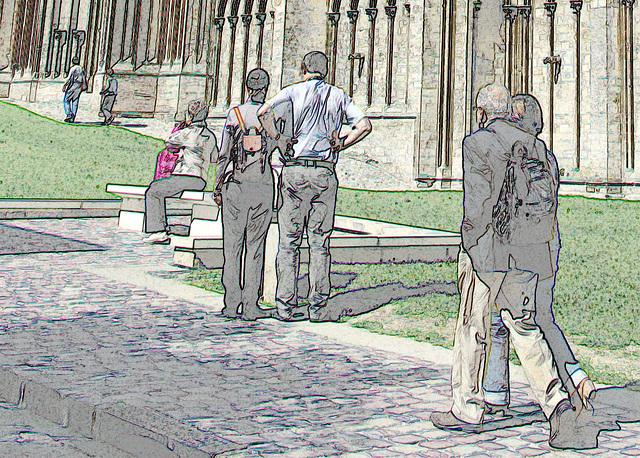 Le cortège des touristes - La Cathédrale Notre Dame de Bayeux - Sept 2010