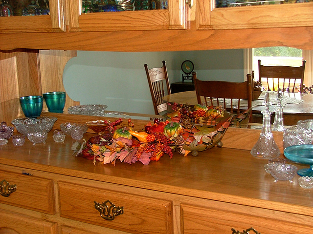 Fall decorations - Dining room mirrored