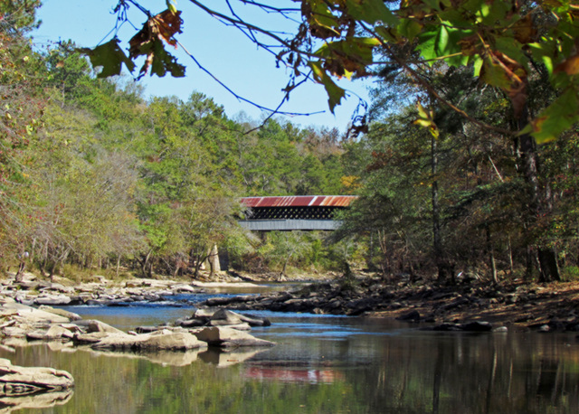 The Locust Fork River with Swann Covered Bridge