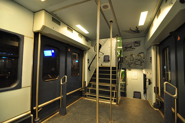 Balcony of a double-decker train