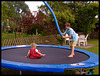 Lina and Torben jumping on the trampoline