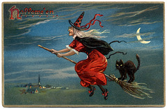 Halloween—Witch and Black Cat on a Broomstick