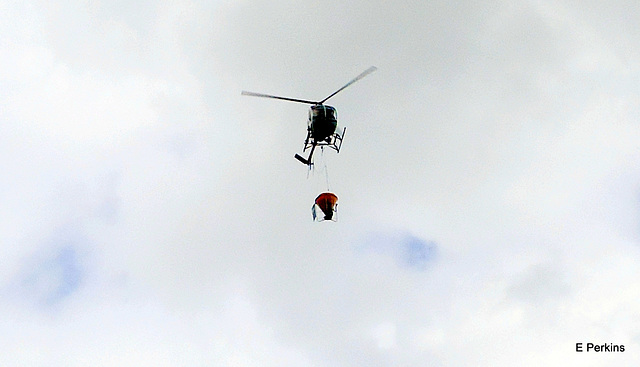 Helicopter with monsoon bucket
