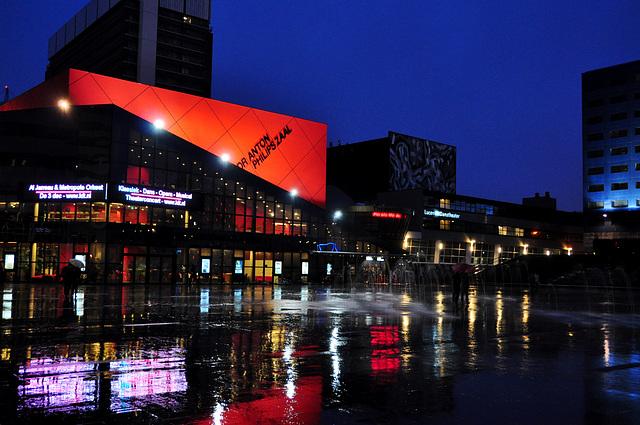 Spuiplein in The Hague during rain