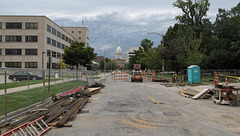 Construction event and thundercloud event of Michigan state capitol.