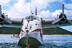 Arriving at Lord Howe Island by flying boat, 1974.