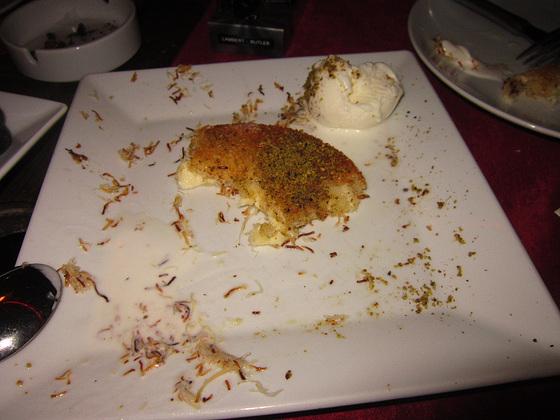 A sweet cheese and baklava dessert