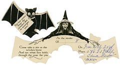 Halloween Party Invitation with Bat and Witch