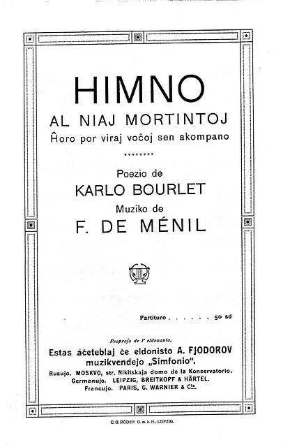 Himno al niaj mortintoj. Poezio de Carlo Bourlet 1