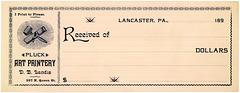 Pluck Art Printery Receipt, Lancaster, Pa., 1890s