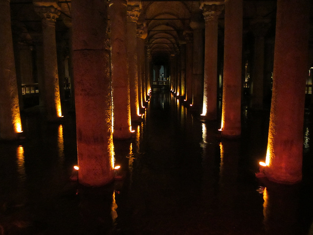 The underground Yerebatan Cistern was built during the Byzantine era under the reign of Justinian in the 6th century AD to ensure an adequate water supply for the city.  The columns are varied