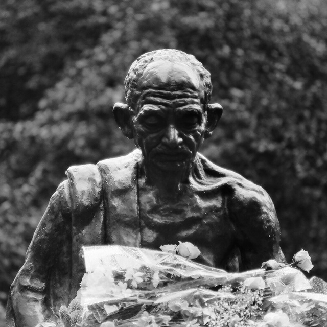 Gandhi with flowers