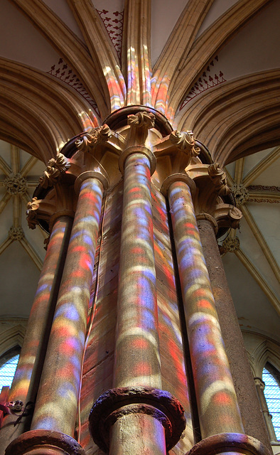 Sunlight through stained glass, Lincoln Cathedral, Lincoln