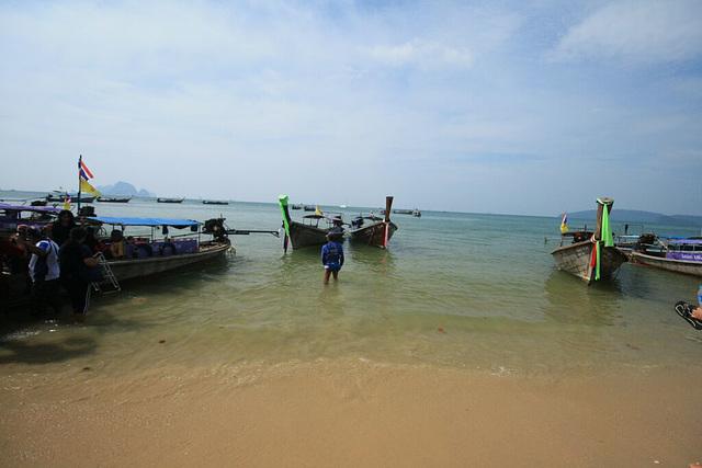 Longtail boats on the beach at Aonang